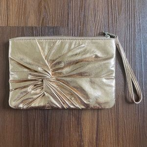 Express rose gold foil wristlet clutch purse bag